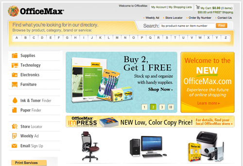 OfficeMax's Former Alphabetical Navigation Bar