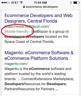 mobile friendly label in Google
