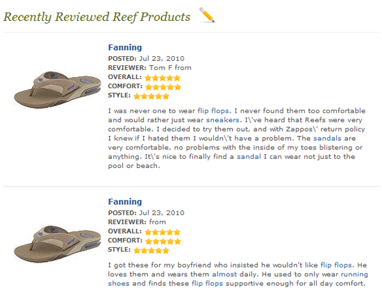 Customer Reviews on Zappos.com